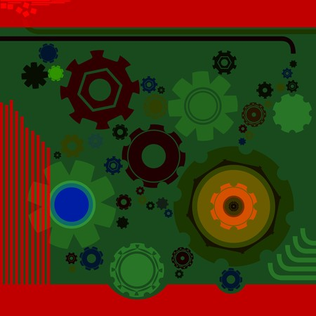 art deco background: Art deco background with gears