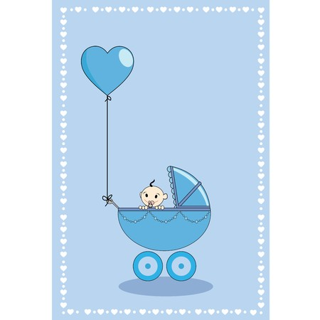 A baby boy in a stroller with hearth shape balloon  Vector