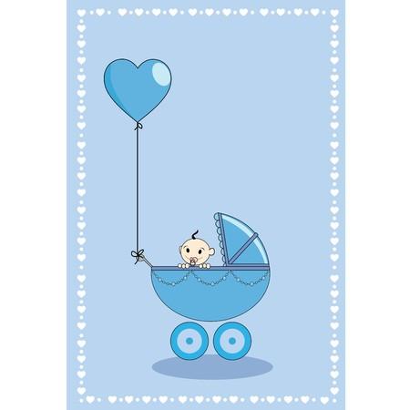 A baby boy in a stroller with hearth shape balloon  Vector