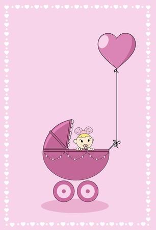 nacimiento bebe: Una niña en un cochecito con globo de forma de hogar  Vectores