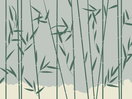 Background illustration with stylized bamboo leaves Vector