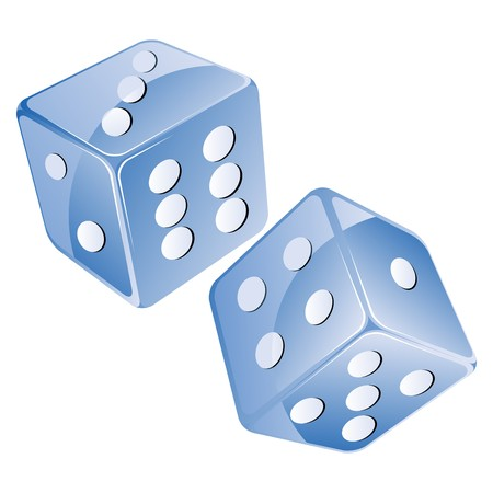 Blue dices, isolated objects against white background Vector