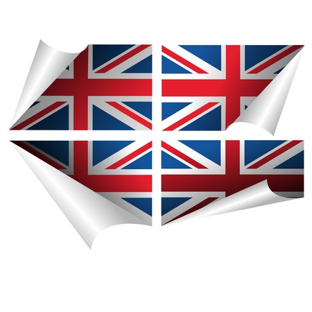 union flag: British flag curled paper sticker