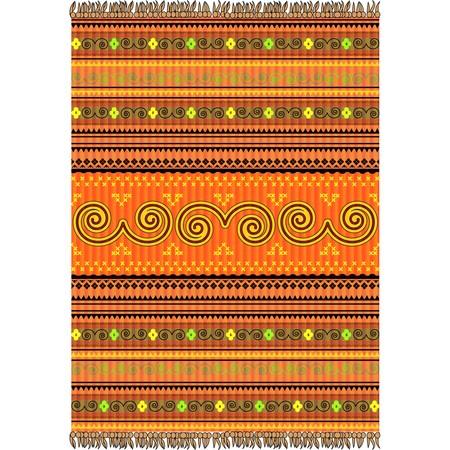 Carpet design in warm tones, ornamental texture Vector