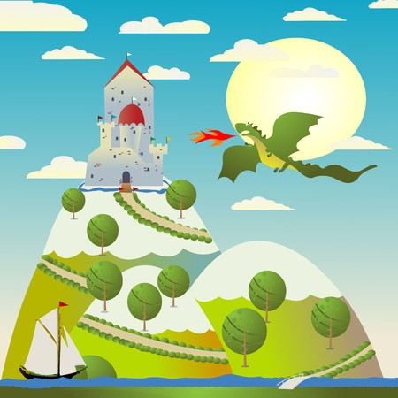 Background with medieval castle and green dragon spitting fire Vector