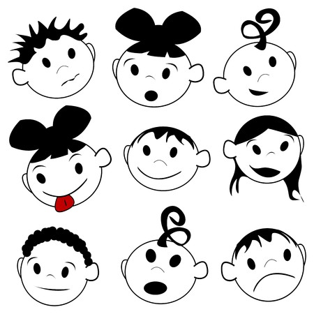 Children expressions, stylized drawing over white Vector