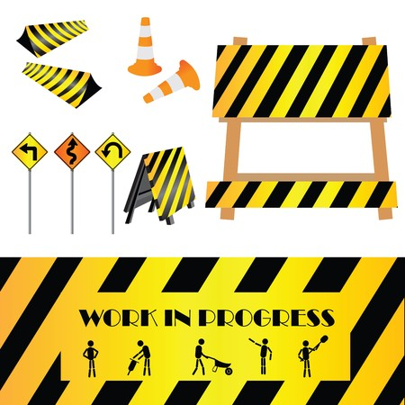 road work: Construction warning signs, design elements