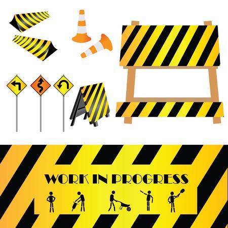equipos trabajo: Signos de advertencia de la construcci�n, elementos de dise�o