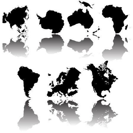 vectored: all continet maps, fully editable objects over white background