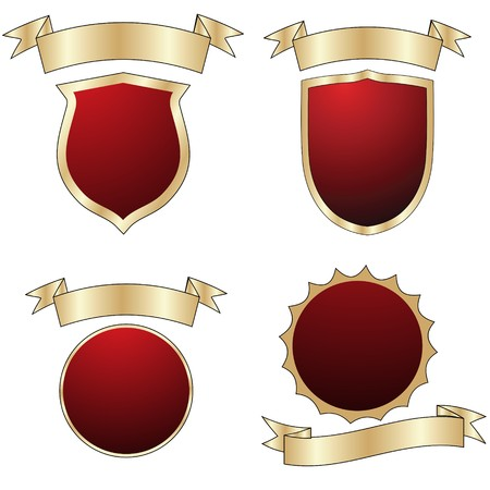Empty red shields collection, isolated objects over white Vector