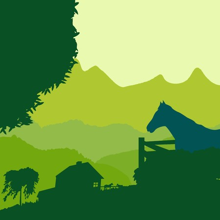 lanscape: Lanscape with a farm in green tones