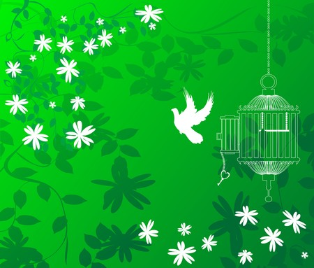 A green floral background with a bird flying out of a cage Vector