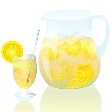 Fresh lemonade with glass