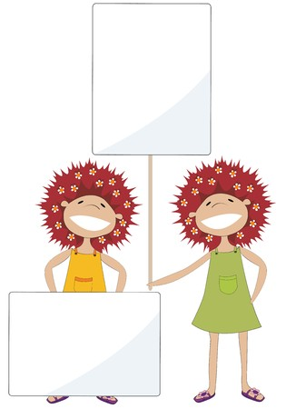 Two girls holding text banners Stock Vector - 8104107