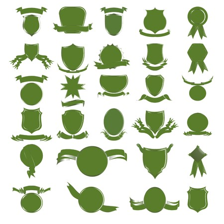 Green empty shields and banners Stock Vector - 8104234