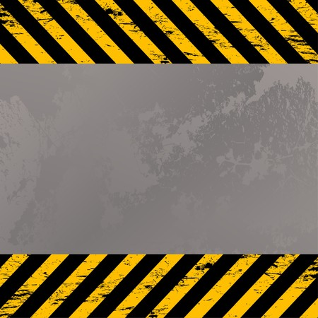 costruction: Grunge metal plate with costruction warning stripes