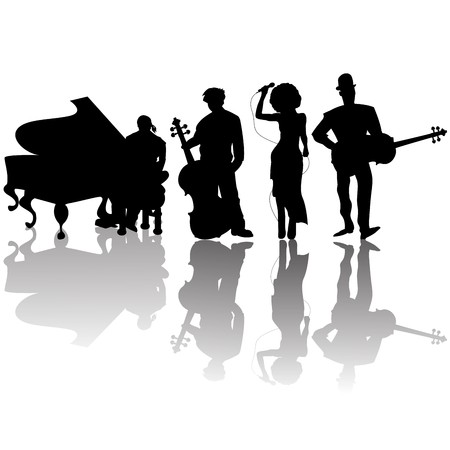 piano player: Jazz players silhouettes against white background