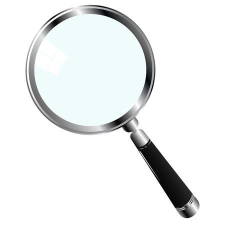 illustrazione di una lente di ingrandimento su sfondo bianco