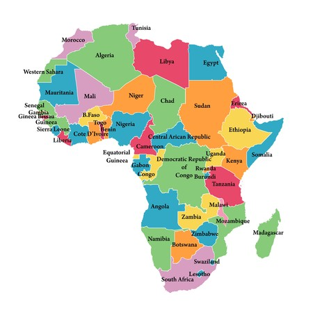 Editable map of Africa with border outlines Illustration