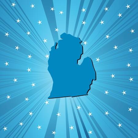 あなたの設計のための抽象的な背景青ミシガン州地図