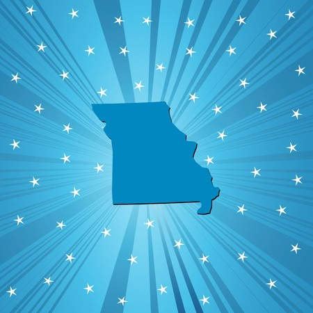 deisgn: Blue Missouri  map, abstract background for your design