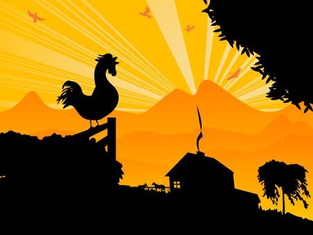 照らす: 朝鶏と農場風景