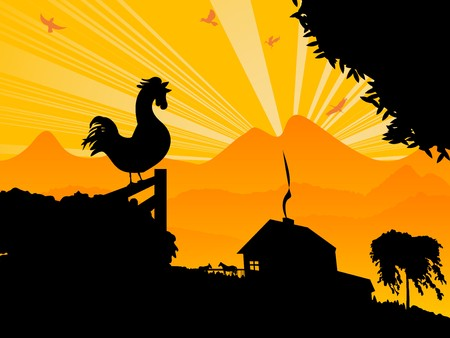 rise: farm landscape witha morning rooster Illustration