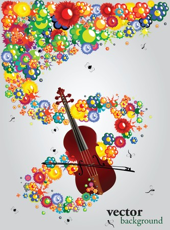 Background texture with floral motif and violin Vector