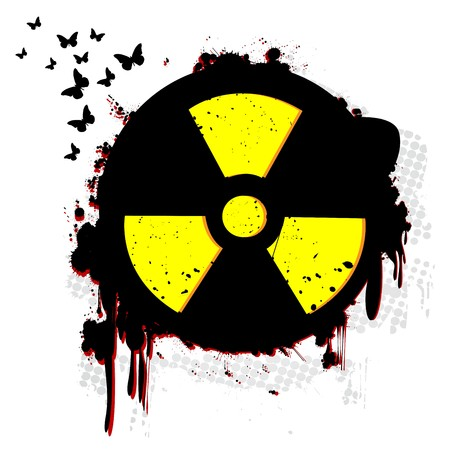 radium: Nuclear hazzard grunge symbol over white
