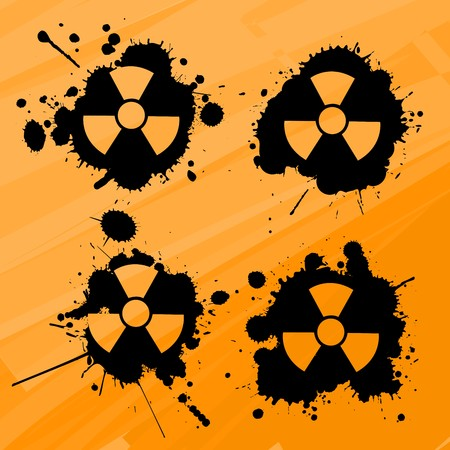 Splats with nuclear warning signs, design elements Vector