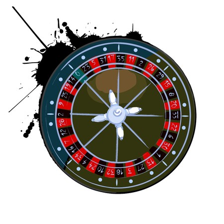 Old roulette wheel over white background Vector