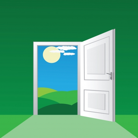 doors open:  open door to a sunny field Illustration