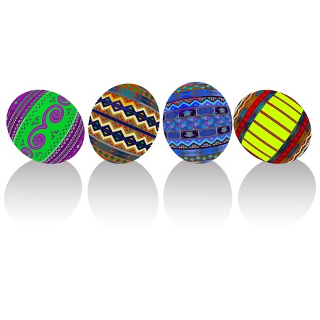 Painted easter eggs , no mesh or gradients Stock Vector - 8104190