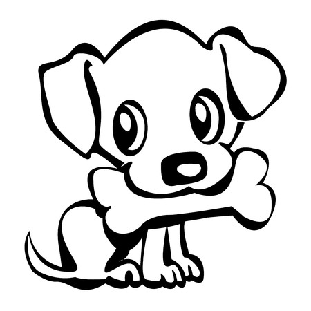 Outline of a cute little puppy holding his bone Stock Vector - 8104098