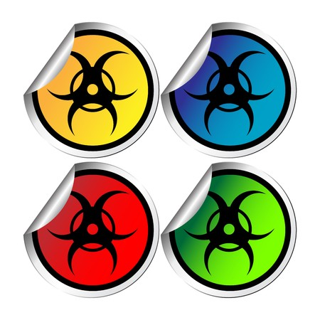 Radiation warning stickers against white background Vector
