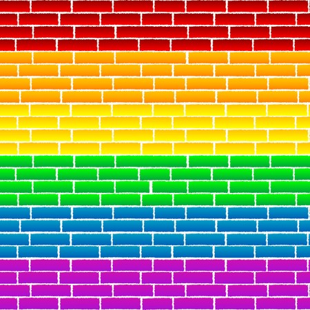 brickwall: Rainbow texture on a wall Illustration