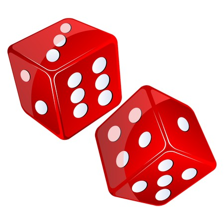 double game: red dices, isolated objects against white background