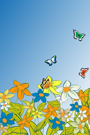 Summer composition with flowers and butterflies Stock Vector - 8104235