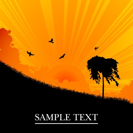 Sunset landscape with tree, background illustration Vector