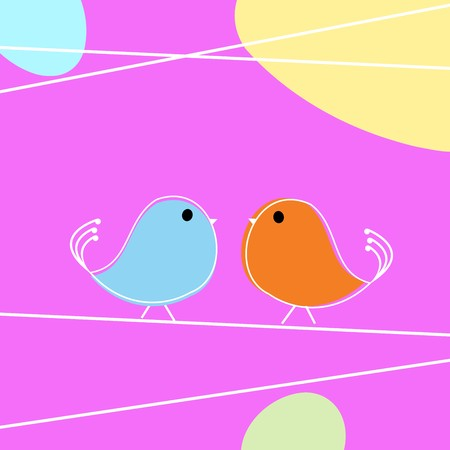 Tweet doodle birds on a wire, love card Stock Vector - 8104064