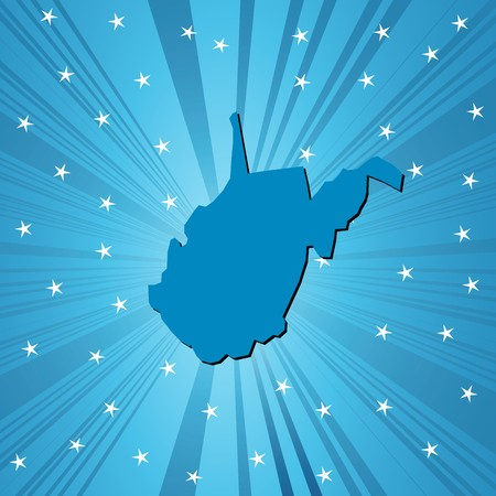 deisgn: Blue West Virginia map, abstract background for your design Illustration