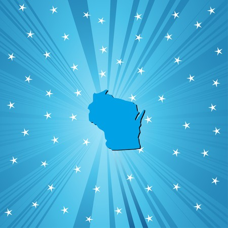 wisconsin: Blue Wisconsin map, abstract background for your design