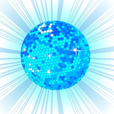 Blue disco ball, retro party background Vector