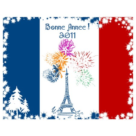 New Year card with France flag and Eiffel tower Vector