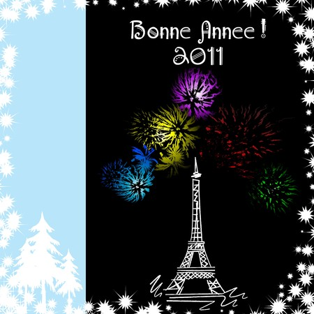sketch with fireworks at the Eiffel tower Vector