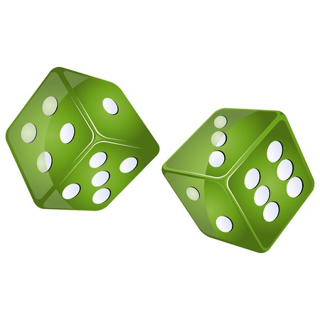 craps: green dices, isolated objects against white background