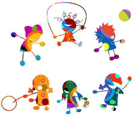 school sports: Happy kids, stylized drawing over white background