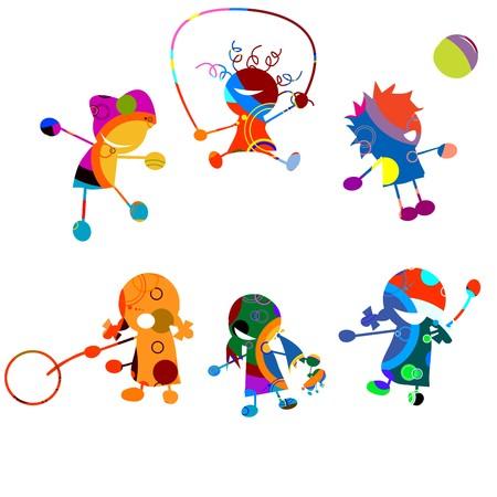 sport ecole: Les enfants heureuses, stylis�s dessin sur fond blanc Illustration