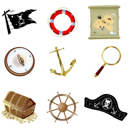 Nautical icons, isolated objects over white Vector