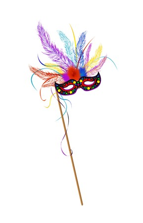 Mardi Gras mask met gekleurde feathes Stock Illustratie